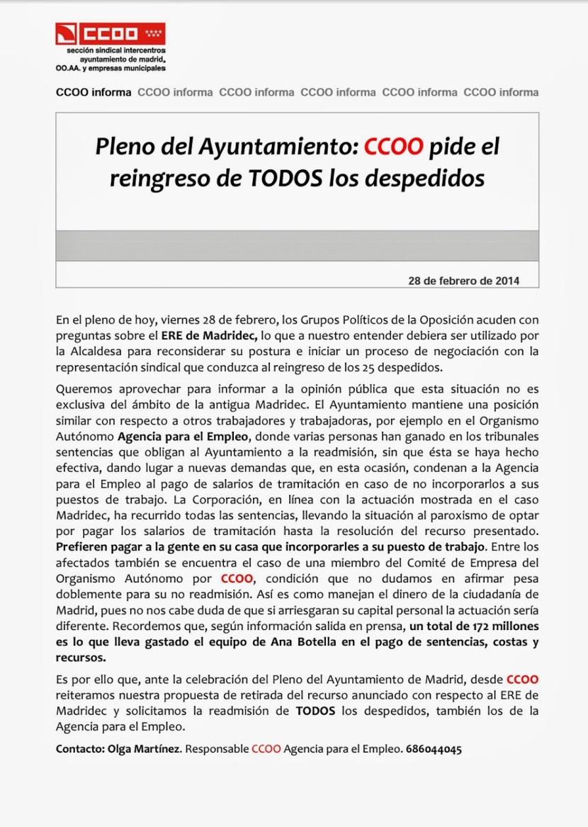 Agencia para el empleo stop al ere en madridec for Agencia de empleo madrid